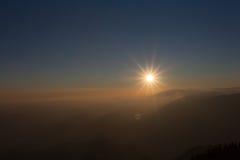 Puesta del sol de Prealpine Foto de archivo libre de regalías