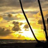 Puesta del sol de Punta Cana Imagen de archivo