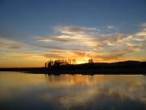 Puesta del sol de Rapel Foto de archivo