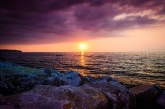 Puesta del sol de relajación Fotos de archivo libres de regalías