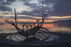 Puesta del sol de Reykjavik Foto de archivo libre de regalías