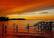 Puesta del sol de Sabah imágenes de archivo libres de regalías