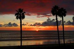 Puesta del sol de San Clemente con las palmeras Fotos de archivo libres de regalías