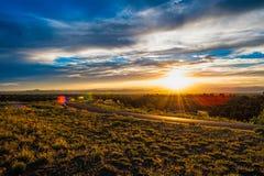 Puesta del sol de Santa Fe Fotografía de archivo libre de regalías