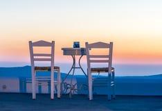 Puesta del sol de Santorini Imagen de archivo