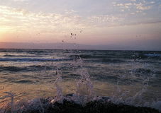 Puesta del sol de Sea& imagen de archivo