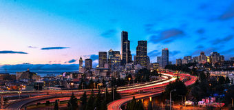 Puesta del sol de Seattle Imagen de archivo