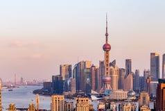 Puesta del sol de Shangai Imagen de archivo libre de regalías