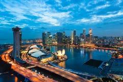 Puesta del sol de Singapur Foto de archivo libre de regalías