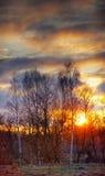 Puesta del sol de Sping Imagen de archivo libre de regalías
