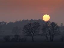 Puesta del sol de Suffolk Imagen de archivo libre de regalías