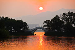 Puesta del sol de Suigetsu Tung del lago star Fotos de archivo libres de regalías