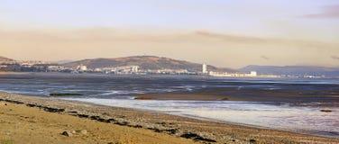 Puesta del sol de Swansea de refunfuños Fotos de archivo libres de regalías