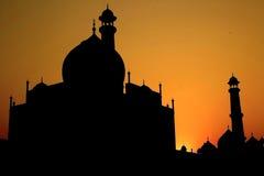 Puesta del sol de Taj Mahal Fotos de archivo libres de regalías