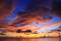 Puesta del sol de Tanjung TaHuna Foto de archivo libre de regalías