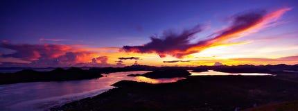 Puesta del sol de Tapyas del montaje Fotos de archivo
