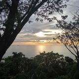 Puesta del sol de Teluk Bayur Fotografía de archivo