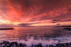Puesta del sol de Tenerife Foto de archivo