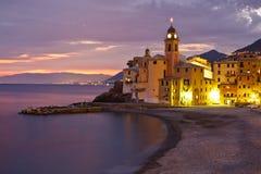 Puesta del sol de Tirrenian en Italia Imagenes de archivo