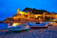 Puesta del sol de Tossa de Mar en Costa Brava de Cataluña imagen de archivo