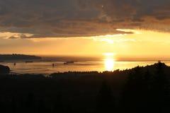 Puesta del sol de Vancouver Foto de archivo