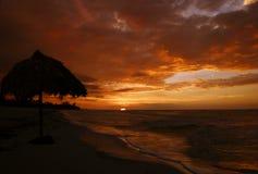 Puesta del sol de Varadero Foto de archivo