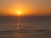 Puesta del sol de Waikiki Foto de archivo libre de regalías