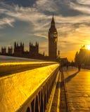 Puesta del sol de Westminster Foto de archivo libre de regalías