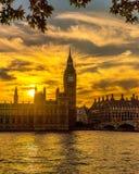 Puesta del sol de Westminster Imagen de archivo libre de regalías