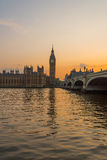 Puesta del sol de Westminster Imagenes de archivo