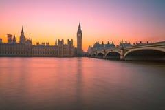 Puesta del sol de Westminster Londres Imagenes de archivo