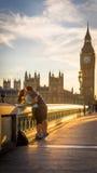 Puesta del sol de Westminster Londres Imagen de archivo