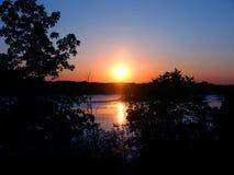 Puesta del sol de Wisconsin de la moraine de la caldera Fotografía de archivo