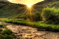 Puesta del sol de Wyoming fotografía de archivo
