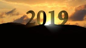 Puesta del sol 2019 del Año Nuevo Imágenes de archivo libres de regalías
