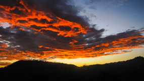Puesta del sol 2016 del Año Nuevo de Quebradas Fotografía de archivo libre de regalías