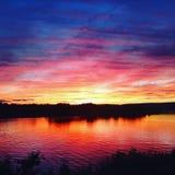 Puesta del sol del arco iris en el Susquehanna Fotografía de archivo libre de regalías