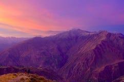 Puesta del sol del barranco de Colca Imagen de archivo