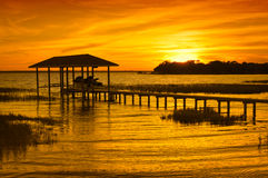 Puesta del sol del Boathouse Imagen de archivo libre de regalías