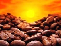 Puesta del sol del café Imagen de archivo