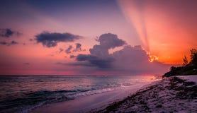 Puesta del sol del Caribe Fotos de archivo libres de regalías