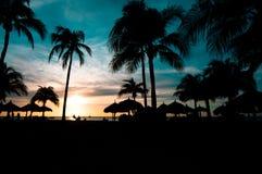 Puesta del sol del Caribe coloreada Fotografía de archivo libre de regalías