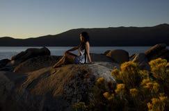 Puesta del sol del centro turístico foto de archivo libre de regalías