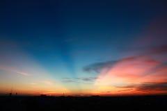Puesta del sol del cielo Fotos de archivo libres de regalías