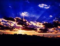 Puesta del sol del cielo de la luz del sol Imagen de archivo libre de regalías