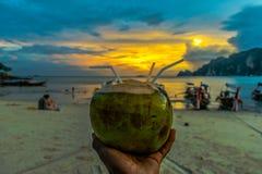 Puesta del sol del coco Foto de archivo