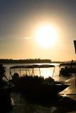 Puesta del sol del delta ParnaÃba Fotos de archivo