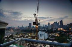 Puesta del sol del desarrollo del citylife foto de archivo libre de regalías