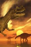 Puesta del sol del dinosaurio Foto de archivo