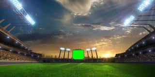Puesta del sol del estadio con las fans de la gente 3d hacen el ejemplo nublado Imagenes de archivo